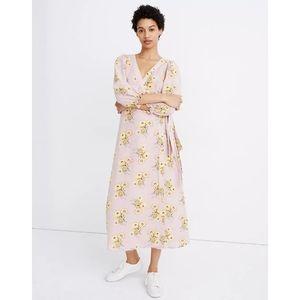 Madewell Ruffle-Cuff Wrap Dress in Dutch Dandelion